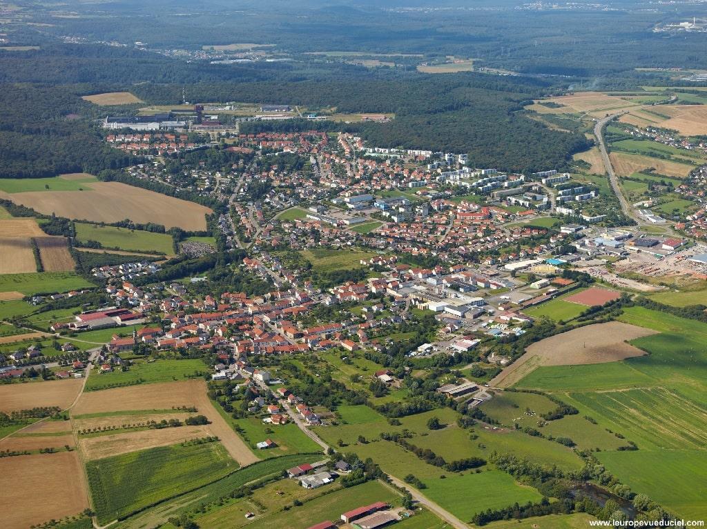 Vue aérienne Commune Folschviller Casas - Moselle